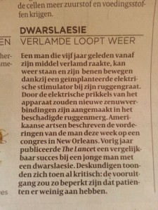 """Article from De Volkskrant, dd. Oct. 27, 2012, entitled """"Paralyzed walks again"""""""